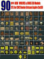 NEW 90 pcs 3D STL WOLVES & DOGS collection Models for CNC Router Artcam Aspire