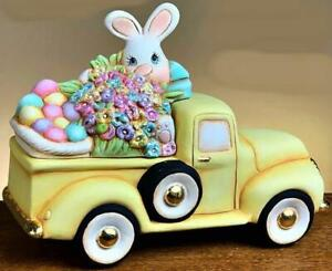Ceramic Bisque Hand-Painted Old Vintage Pickup Truck Easter Bunny W/Flowers