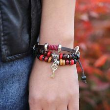 Women 925 Silver Plated Adjustable Key Braid Brown Leather Beaded Retro Bracelet