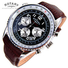 Rotary Men�€™s Watch Chronospeed Chronograph quartz brown Leather Strap Watch NEW