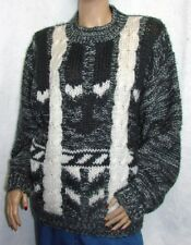 Street Scenes Black & Cream Chunky Cable Knit Fuzzy Soft Sweater Size L