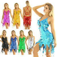 Latin Dress Women's Evening Gowns Sequined Rave Dance Wear Party V Neck Costumes