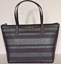 New Kate Spade Hani Haven Lane Tote Black Glitter Stripes handbag