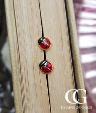 Fine 9ct Yellow Gold & Enamel Ladybird Children's Babies Stud Earrings