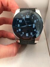 FOSSIL RELIC MEN'S SILVER STEEL BLUE DIAL WATCH WITH DATE BLACK STRAP ZR11861-R8