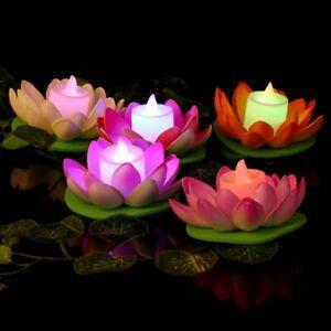 LED Vivid Lotus Flower Wishing Lamp Floating Water Pool Light Celebration