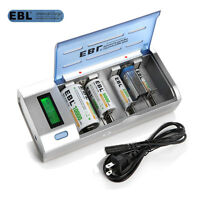 EBL Universal LCD Battery Charger Rechargeable AA/AAA C D 9V Ni-MH Ni-CD 4 Slot