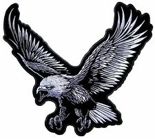 Large White And Silver Flying American Bald Eagle Embroidered Biker Patch