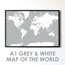Large A1 Grey White Map of the World Poster Print Wall Art Decor Globe Atlas