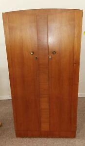 Vintage Teak Double Wardrobe with shelves H177 W91 D47cm
