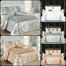 Luxury 3 Piece Sequin Bedspread Quilted Bed Throw Double King Size Comforter Set