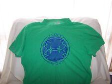 Mens Under Armour Green Short Sleeve BIG FISH HOOK LOGO Shirt Large LOOSE FIT