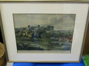 Vintage Bachelors Hall engraving of a Hunting scene Plate 4 with poem