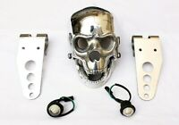 POLISHED SKULL HEADLIGHT, WHITE LIGHT & BRACKETS FOR CUSTOM CHOPPER BOBBER LAMP