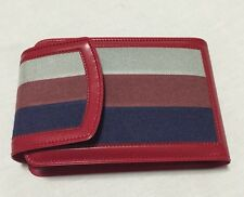 Retro Groovy Wallet Plastic And Canvas Red Gray Navy Hong Kong EUC