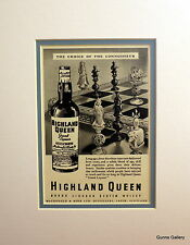 Original Vintage Advert mounted ready to frame Highland Queen Whisky 1949 Chess
