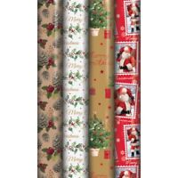 32m Christmas Gift Wrapping Paper Assorted Design Traditional Xmas Wrap Rolls