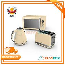 Swan 1.5 Litre Jug Kettle, 2 Slice Toaster & 800W Digital Microwave In Cream