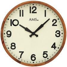 AMS Wanduhr 41 cm groß Holz braun beige Mineralglas antik Nostalgie Uhr rund neu