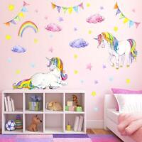 Watercolor Unicorn Rainbow Wall Sticker Star Cloud Girls Room Cartoon Decals