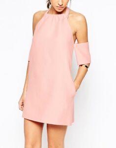 C/Meo Perfect Lie Mini Dress halter off the shoulder bardot pink M 10 CMEO Asos