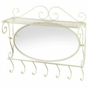 White Scrolled Iron Wall Shelf With Hooks And Mirror Coat Tower Hooks