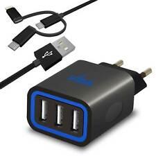 Fast 3 Port USB Europäische Ladegerät mit Typ-C und iPhone Lightning Adapter