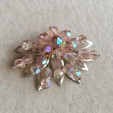 Vintage SILVER Tone PINK Aurora Borealis CRYSTAL Wired FLOWER Shield BROOCH Pin