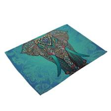 Elephant Pattern Bowl Placemats Dining Cotton Linen Pad Western Table Mat #7