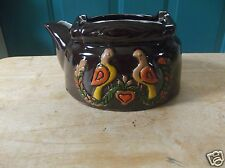Vintage Brown Tea Pot Shaped Art Pottery or Ceramic Planter with Bird Image