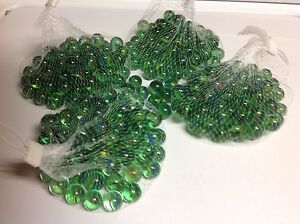 """5 LBS Green Glass Marbles Clear with Cats Eye 5 Pounds 5/8"""" Round 400+ Count NEW"""