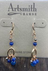 Barse Meena Earrings- Vivid Blue Agate & Hematite-Mixed Metals- NWT