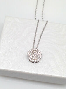 STONIQUE CREATIONS 925 Sterling Silver Round Disc Alphabet Letter A-Z Initial Pendant Necklace Rolo Chain 18