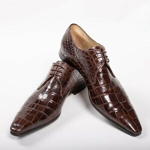 Great $8600 Zilli Brown Derby CROCODILE Shoes 8UK / 9US / 42EU