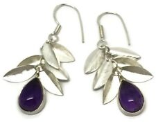 Real amethyst long drop earrings, solid Sterling Silver, New, actual ones.