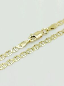 """14k Solid Yellow Gold High Polish Mariner Anchor Anklet 10"""" 3.2mm"""