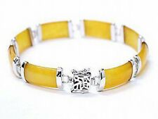 Yellow Jade Fortune Luck White Gold Plated Link Clasp Bangle Bracelet