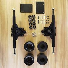 """Long Board 7"""" Trucks Skateboard Parts Black Wheels Bearings Screw Components Kit"""