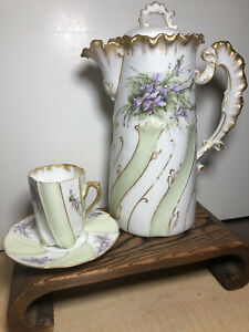 MR Limoges Chocolate Pot Cup Saucer Rare Repaired