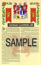 MCLEAN Armorial Name History - Coat of Arms - Family Crest GIFT! 11x17