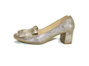 CL by Laundry Pumps Gold Metallic Fringe Block Heel Cushioned Comfort Womens 8.5