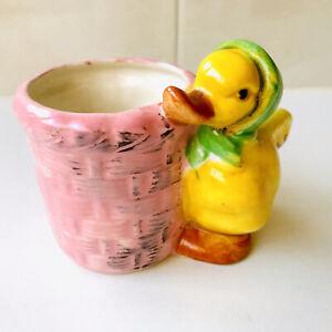 Vintage Duck And Basket Planter Vase - Chicken Planter - Japan 1950's