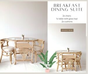 🌱💚NEW Rattan Breakfast Dining Chairs + Table ~ Bohemian Outdoor Cane Wicker