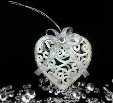 6 White Hanging Xmas Tree Hearts Baubles Glitter Silver Bling Christmas Ornament