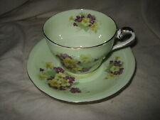 Vintage Aynsley Mint Green Cup & Saucer w/ Yellow and Purple Flowers