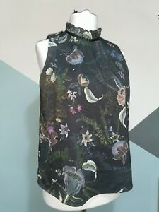 Next Top - Size 14 Black High Neck Open Back Floral Print work office