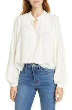 NWOT $325 Frame Off White Pleated Silk Blouse S