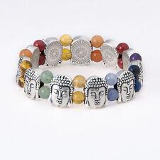 7 Chakra Gemstone Strech Bracelet, SILVER Tone BUDDHA Beads