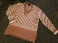 a.n.a. Brown and White Striped Lambswool Sweater Womans Plus Size 2X