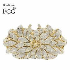 Diamond Flower Clutch Minaudiere Handbags Wedding Crystal Evening Purse Bags